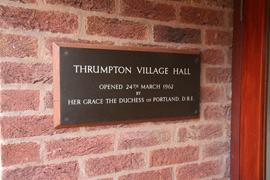 Thrumpton Village Hall Sign